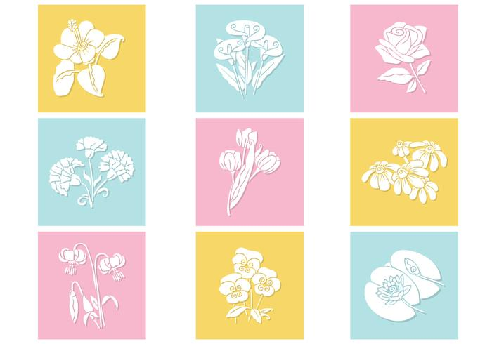 Pastel Flowers Vector Set