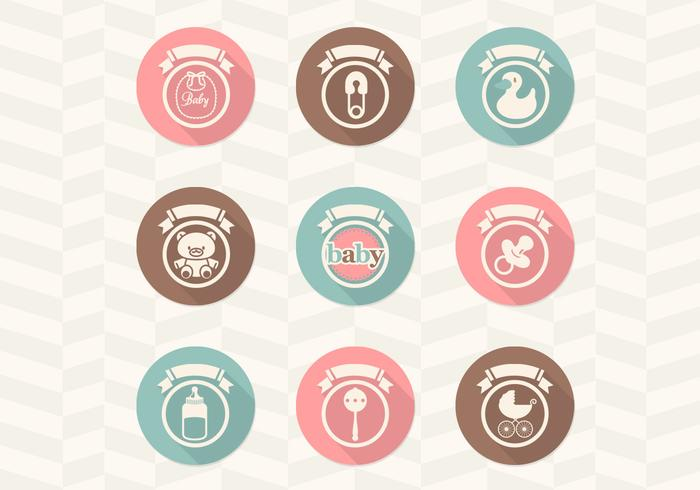 Retro Baby Icons Vector Collection