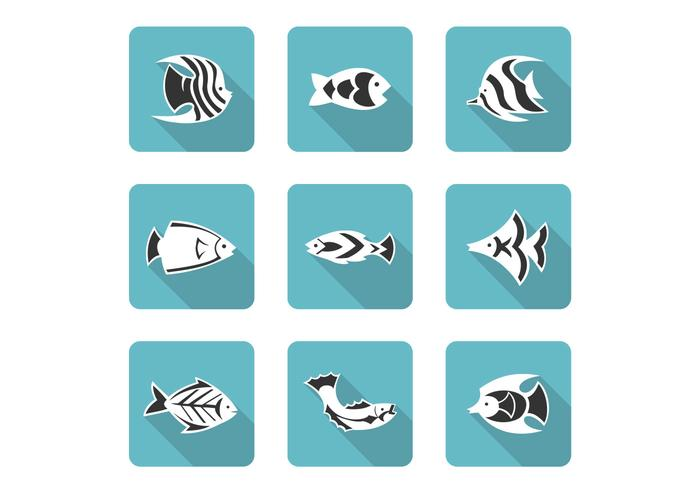 Stylized Fish Icons Vector Set