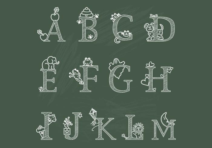 Chalk Children's Alphabet A-M Vectors