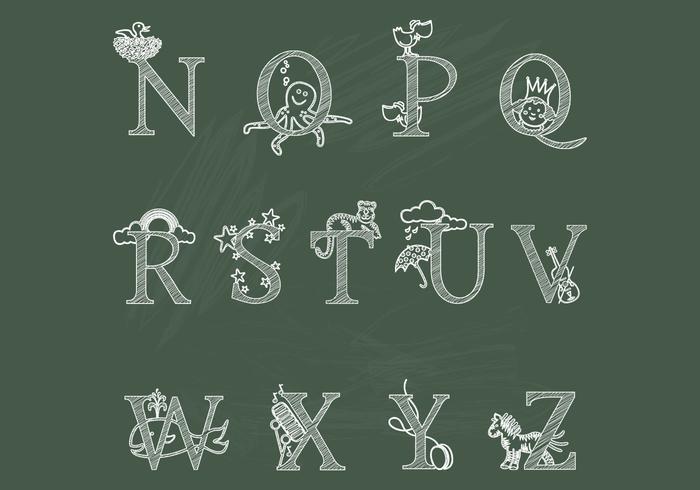 Kreide Kinder Alphabet NZ Vektoren