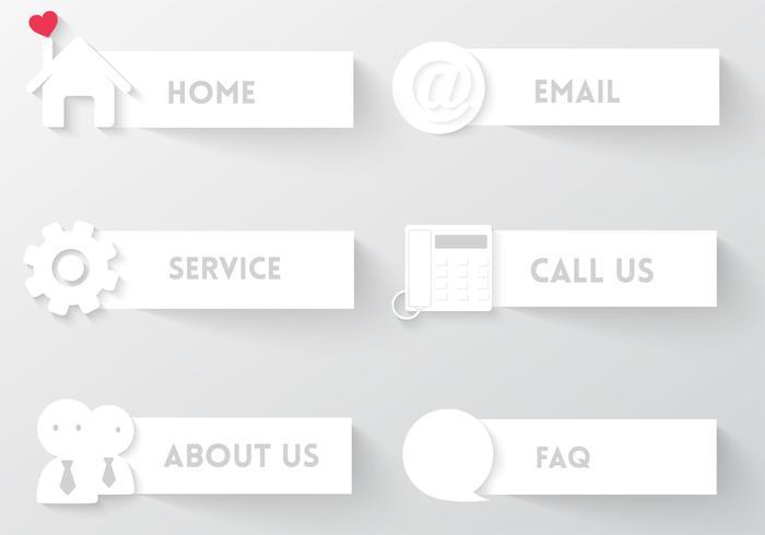 White Web Buttons Vector Set