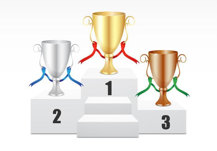 Gold, Silver, Bronze Trophy Vector Set