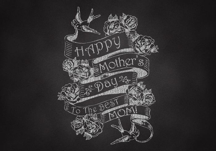 Chalk Drawn Mother's Day Ribbon Banner Vector