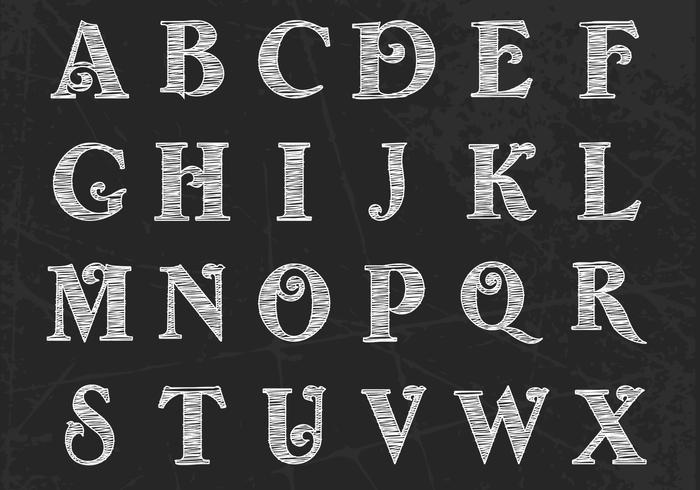 Kreide gezeichnet Alphabet Vektor Pack