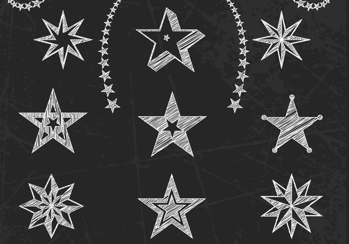 Chalk Drawn Stars Vector Set