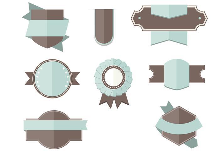 Flat Labels Ribbons Vector Set