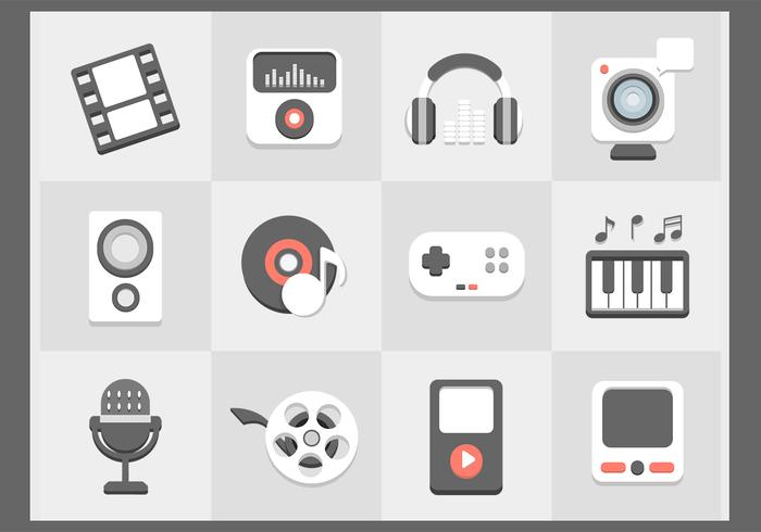 Flat Multimedia Icons Vector Set