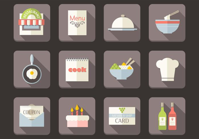 Flat Restaurant Icons Vector Set