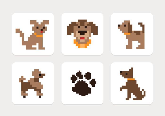Pixel perro iconos conjunto de vectores