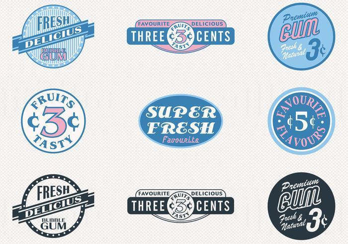 Retro snoep badges vector set