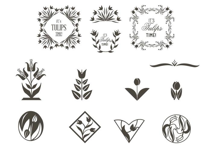 Tulip Ornaments Vector Set