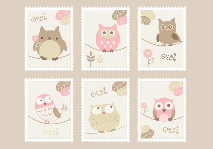 Cartoon Eulen Briefmarken Vektor Set
