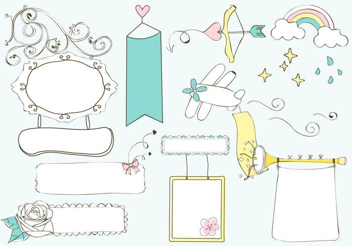 Cute Doodle Banners Vector Set