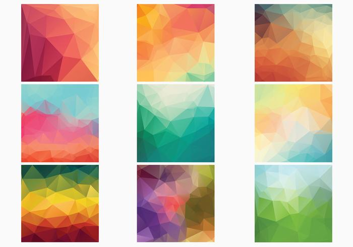 Geometric Polygonal Backgrounds Vector Collection