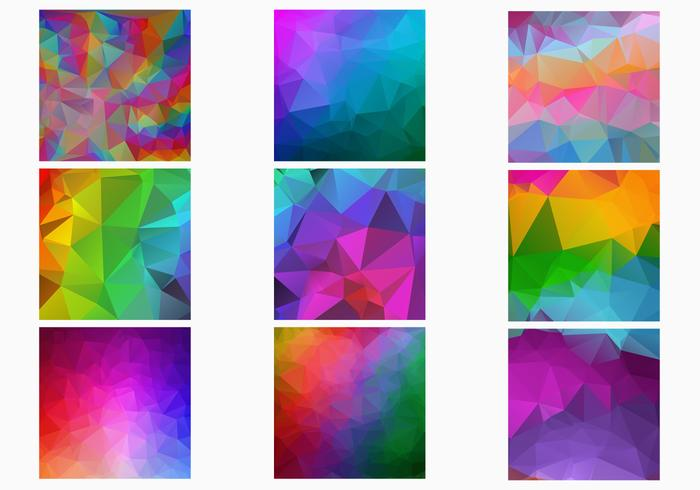 Rainbow Polygonal Backgrounds Vector Set
