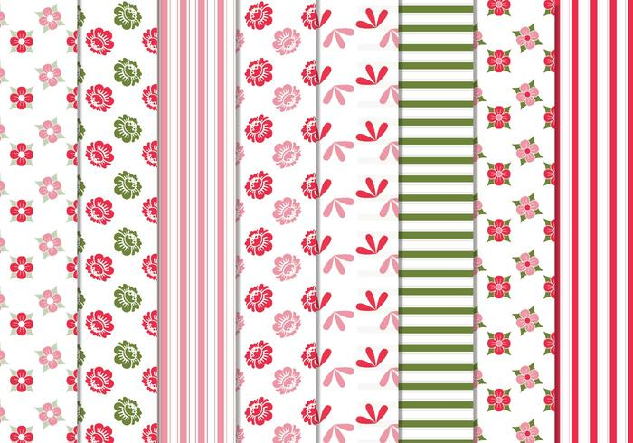 Floral Stripes Vector Patterns