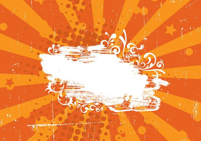 Grunge Orange Sunburst Vector Background