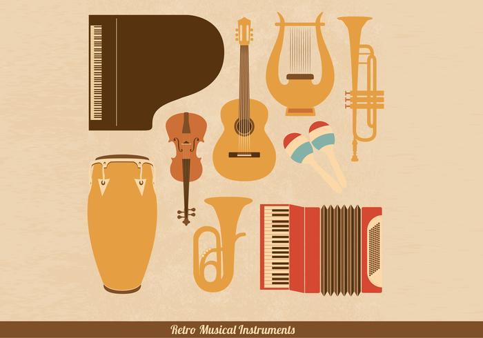 Retro Musical Instrument Vectors