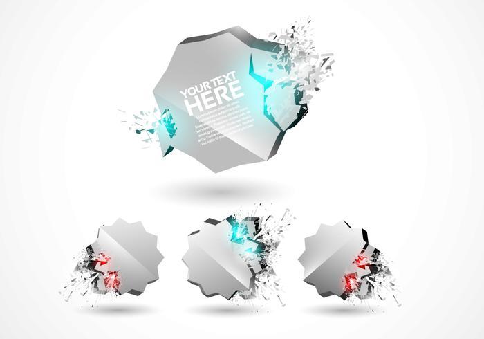 3D Explosion Badges Vector Set