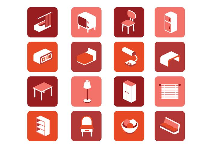 Tablet Lounge Chair 3D Furniture Icons Vector Set - Download Free Vector Art ...