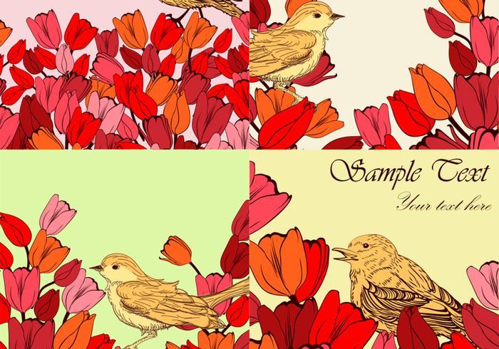 Flowery Bird Backgrounds Vector