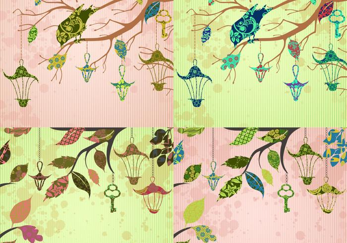 Patchwork Bird and Key Backgrounds Vector