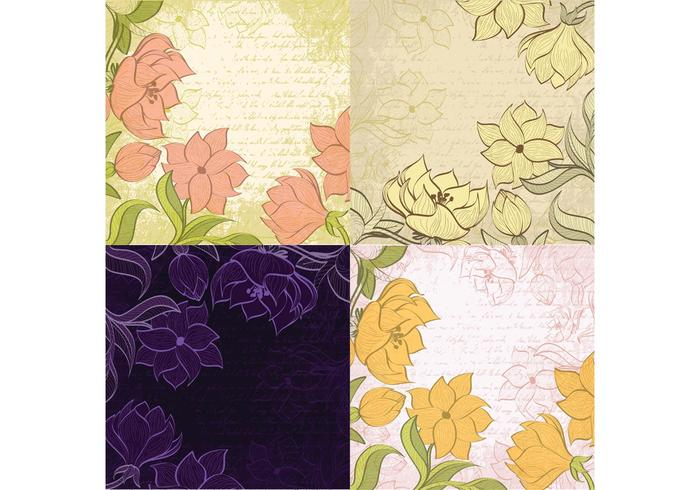 Schetched Floral Backgrounds Vector