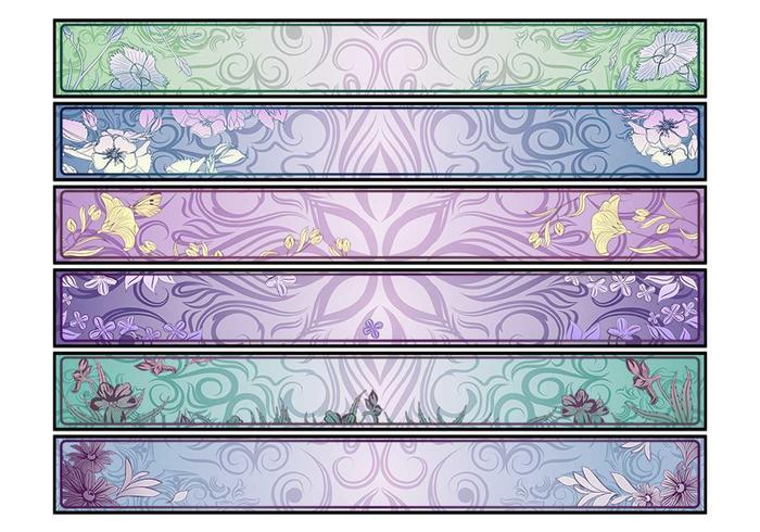Swirly bloemen banners vector set