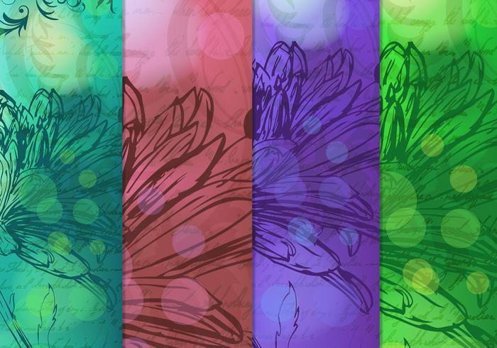 Vintage Drawn Floral Backgrounds Vector