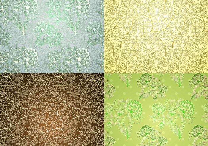 Vintage Plant Wallpaper Vector Pack