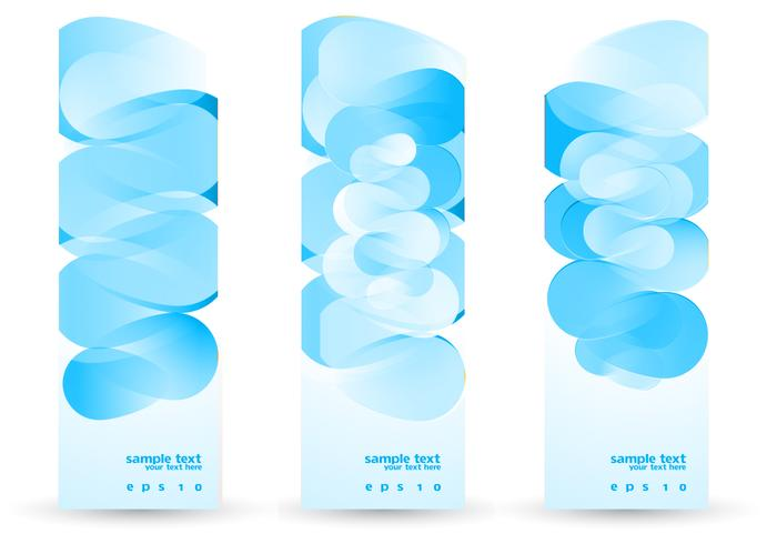 Funky Blue Abstract Banners Vector Set