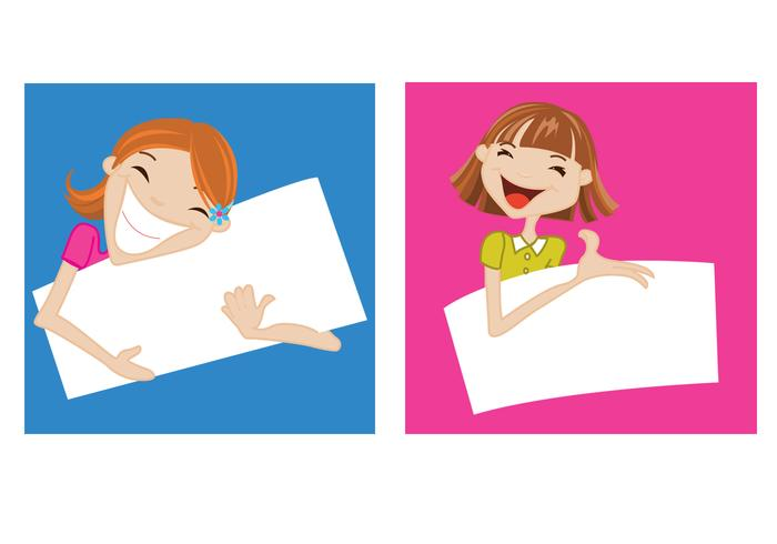 Happy Girls Holding Banners Vector Set