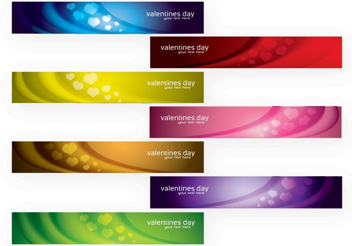 Modern Valentine's Day Banners Vector Set