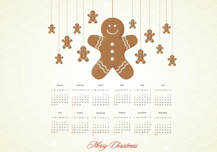 Gingerbread Calendar Vector
