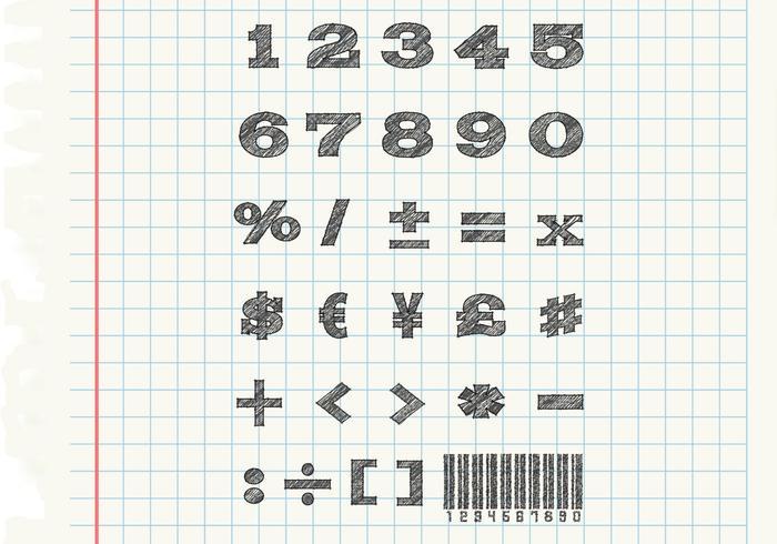 Sketchy Numbers Vectors Set