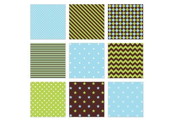 Blue Green Seamless Vector Patterns