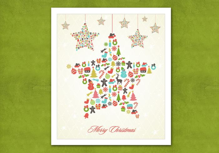 Retro Hanging Christmas Star Vector Background