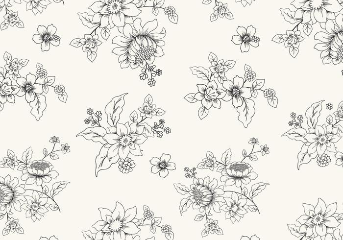 Hand Drawn Black and White Floral Vector