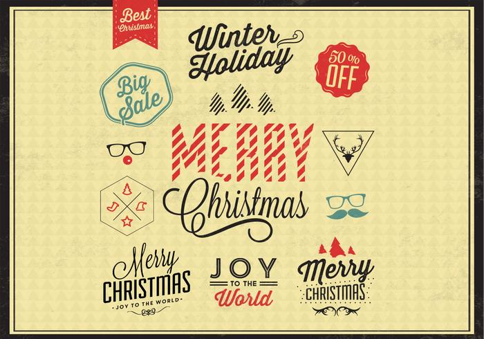 Colored Christmas Badges Vector Set