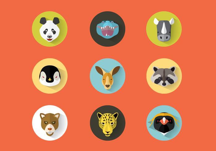 Animales Salvajes Retratos Vector Set