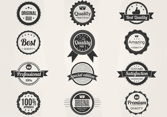 Black and White Premium Badges Vector Set