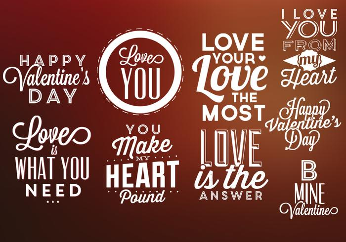 Día de San Valentín etiquetas paquete de vectores