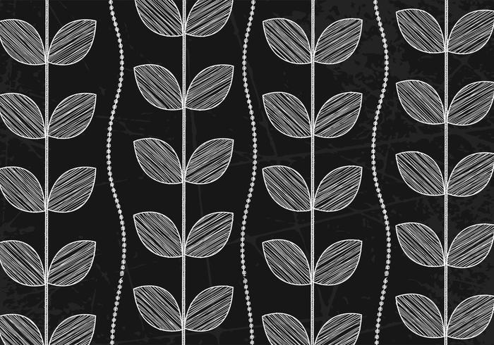 Krijt getekend blad behang vector
