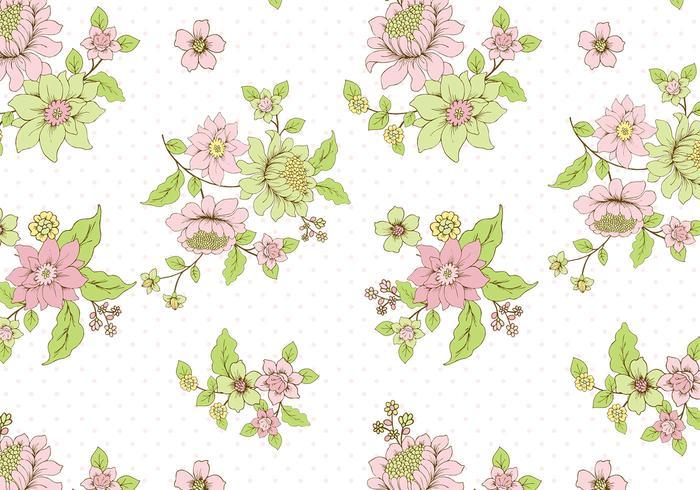 Polka Dot Floral Background Vector