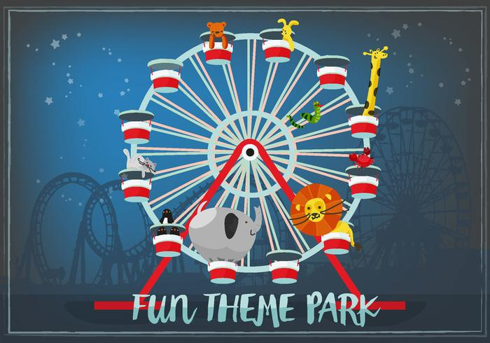 Cute Hand Drawn Zoo Animals in Ferris Wheel Vector Background