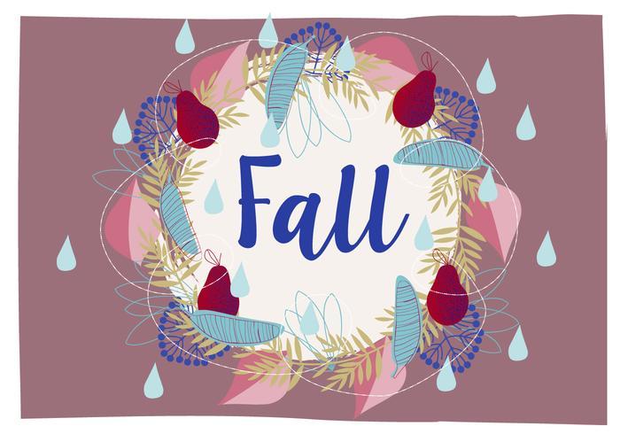Cute Autumn Wreath Illustration Background
