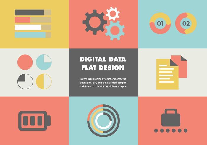 Flat Digital Data Vector Bakgrund