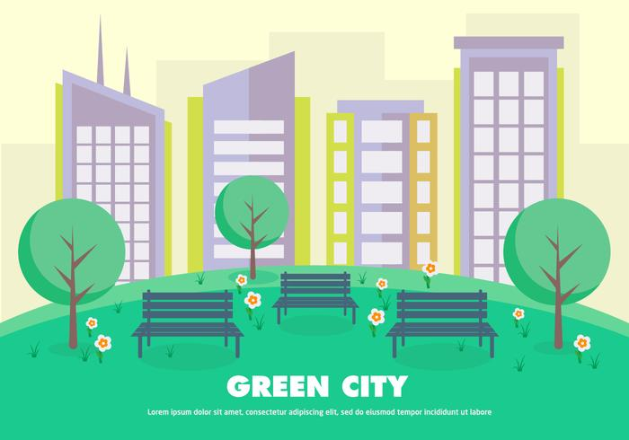 Flat Green City Vector Illustratie