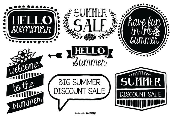 Cute Hand Drawn Style Summer Labels